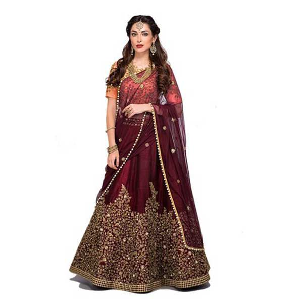 Mustang Marron embroidered satin with blouse stylish lahengha choli