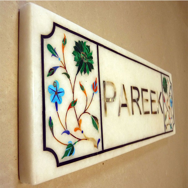 M A T Green Lines - Marble inlay Name Plate