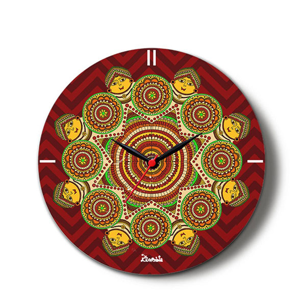 Madhubani Aura Glass Clock