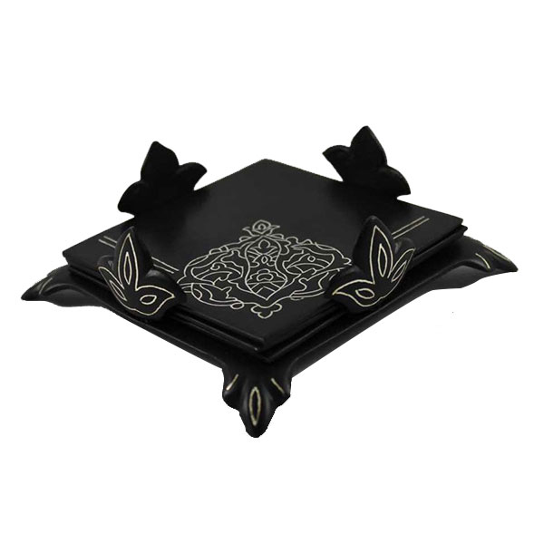Silverstop - Set of 4 Coasters with Holder (Bidri Art)