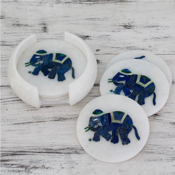 N J J Blue Elephant Gems' (Set of 6) Marble Inlay Coasters