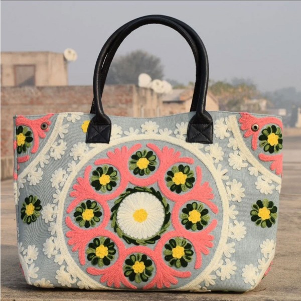 Suzani Bag - Hand Embroidered With Leather Handle