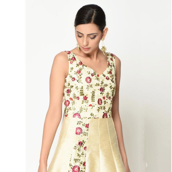 Ivory Floral Embroidered Dress