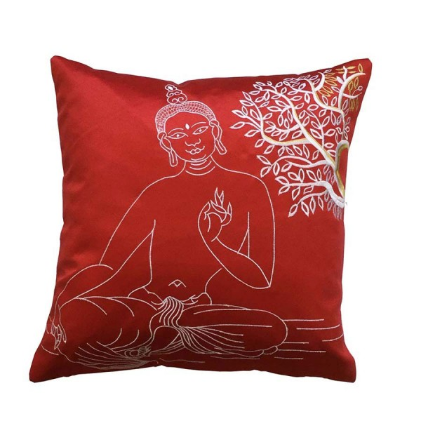 M R Embroidered Polyester Buddha Blackout Cushion Cover
