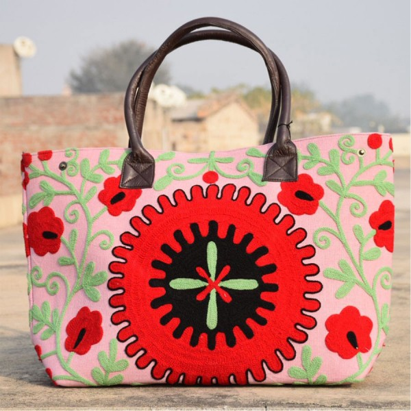 D S T Suzani Bag - Hand Embroidered With Leather Handle