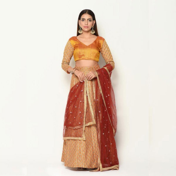 Mustang Plus Embroidered Gold Yellow Lehenga