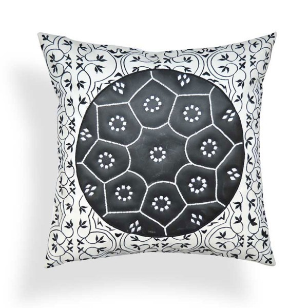 Monochrome Faux Leather Embroidered Cushion