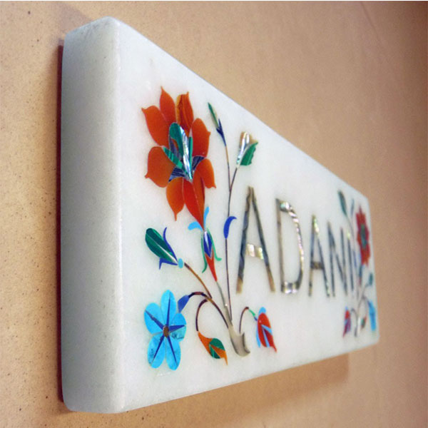Orange Top - Marble Inlay Name Plate